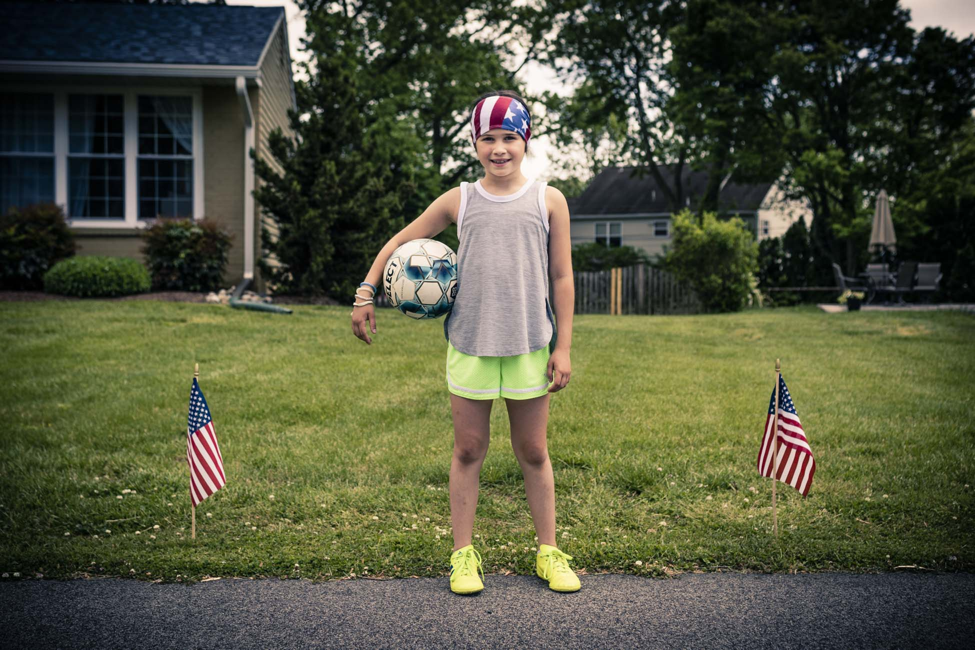 Young girl with soccer ball
